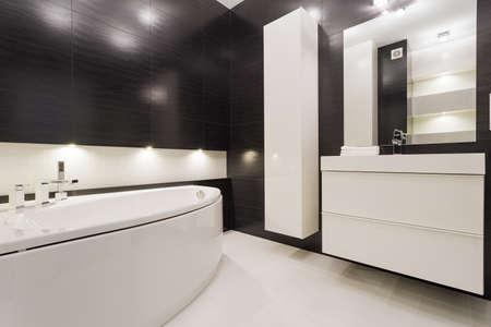 현대적이고 배타적 인 흑백 욕실 스톡 콘텐츠 - 43692732