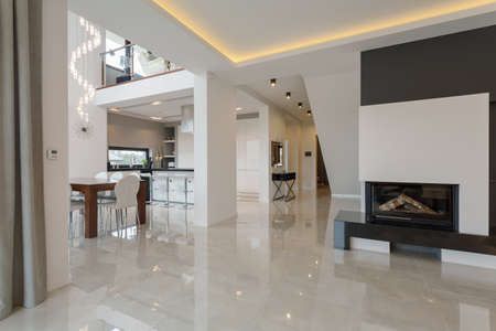 Contemporary designed interior in big expensive house Stok Fotoğraf