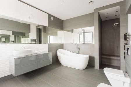piastrelle bagno: Bianco e grigio grande bagno esclusivo con vasca fantasia Archivio Fotografico