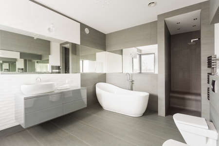 bathroom: gran lavadero exclusivo blanco y gris con baño de lujo Foto de archivo