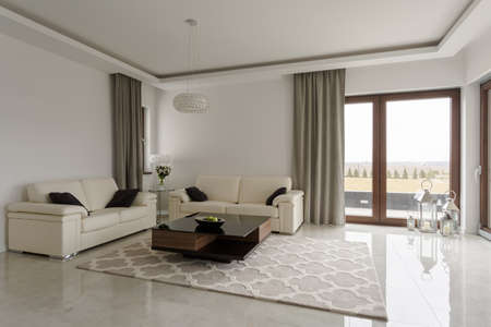 Exclusive modern family room with shining marble floor