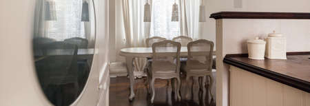 transition: Transition from the kitchen to the dining room