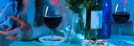 marital: Panorama of marital dinner in dramatic bad atmosphere Stock Photo