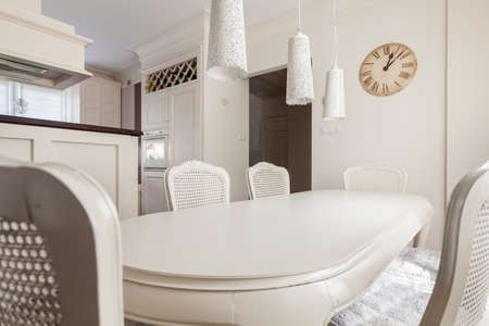 storey: White dining room in the storey house Stock Photo