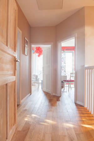 anteroom: Wooden bright corridor in beauty detached house