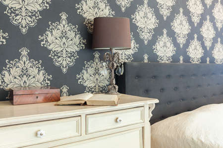 bedroom: Close-up of patterned wallpaper in retro interior