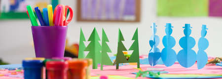 game to play: Colourful cutouts, pens and paints in a kindergarden
