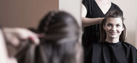 hair braid: Preparing for important meeting in hairdresser salon Stock Photo