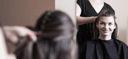 Preparing for important meeting in hairdresser salon Standard-Bild