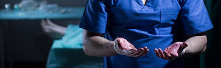 incurable: Surgeon is having blood on his hands after transplantation