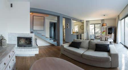 a detached living room: Elegant living room in luxury detached house