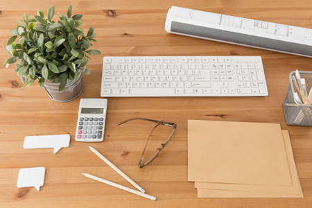 inventive: Photo of simple and tidy workspace for inventive person