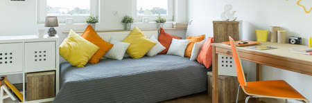 furnished: Panorama of modern style furnished cosy teenager room
