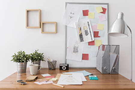office supplies: Photo of contemporary creative workplace with office supplies