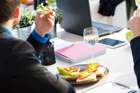 afternoon break: Having a lunch at office during break time Stock Photo