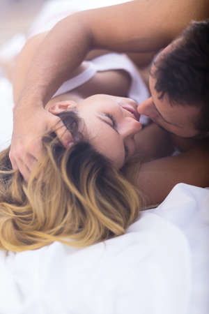 sex tenderness: Image of love and desire between young man and woman Stock Photo