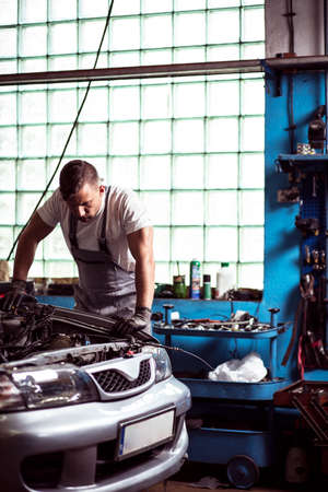 diagnosing: Picture of young mechanic diagnosing car engine