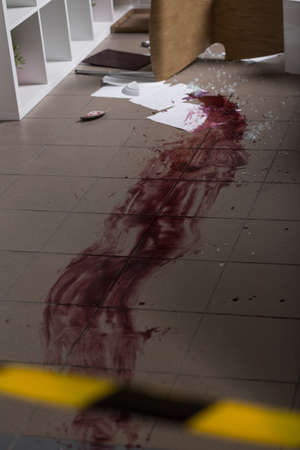slaying: Blood on the floor at the crime scene