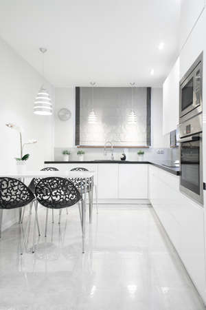 gleaming: Picture of gleaming kitchen interior in contemporary design Stock Photo