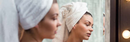 turban: Young beauty woman with turban towel - panorama