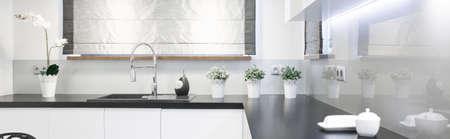 kitchen worktop: Wooden worktop in beauty kitchen interior - panorama Stock Photo