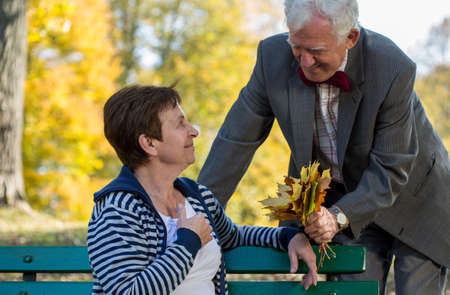lovers park: Senior couple dating in park at autumn