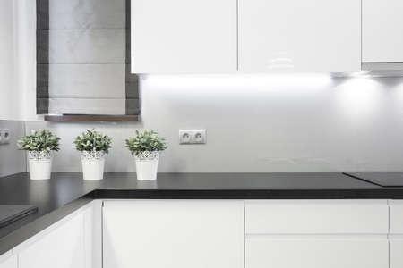 cuisine fond blanc: Int�rieur de cuisine confortable dans maison individuelle moderne