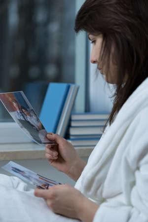 broken up: Portrait of young woman missing her ex-boyfriend Stock Photo
