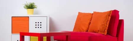 cosy: Panorama of cosy colorful recreation space in teenager room