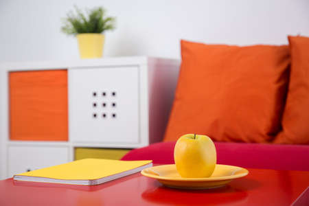 naranja color: Picture of colorful recreation area in new style kid room