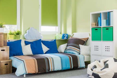 contemporary interior: Image of contemporary style green boy room interior