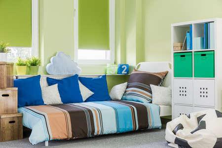 stylish boy: Image of contemporary style green boy room interior