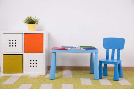 furnished: Photo of neat furnished space for creative child activity
