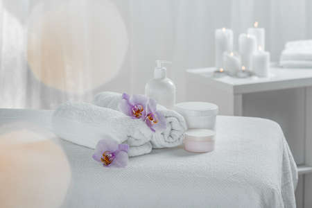 Picture of set of white massage utilities in day spa