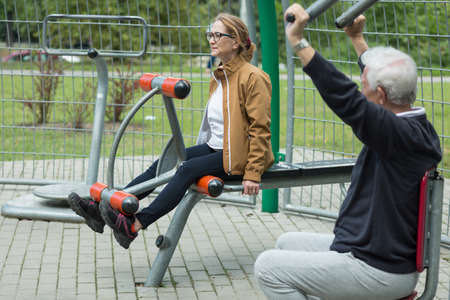 Image of fitness mature couple during outdoor recreation Stock Photo