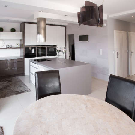 Picture of modern furniture in designed kitchen Stock Photo