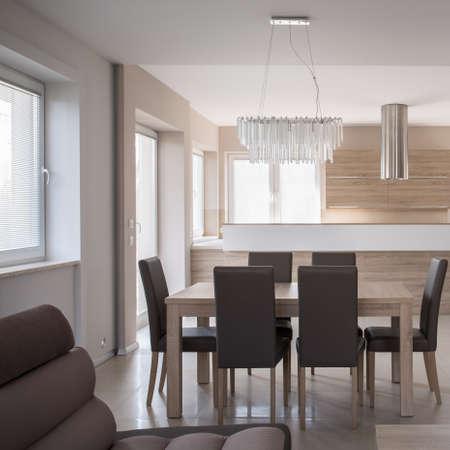 Dining table set in luxury beige interior