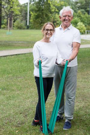 Photo of happy senior couple leading healthy lifestyle Stock Photo