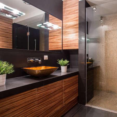 벽에 멋진 샤워 시설을 갖춘 새로운 현대적인 욕실 스톡 콘텐츠