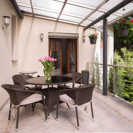 Space for relax on the cozy balcony Foto de archivo