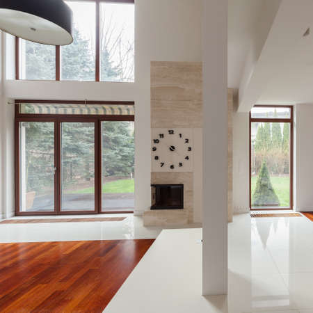 Up-to-date fancy design of new spacious living room
