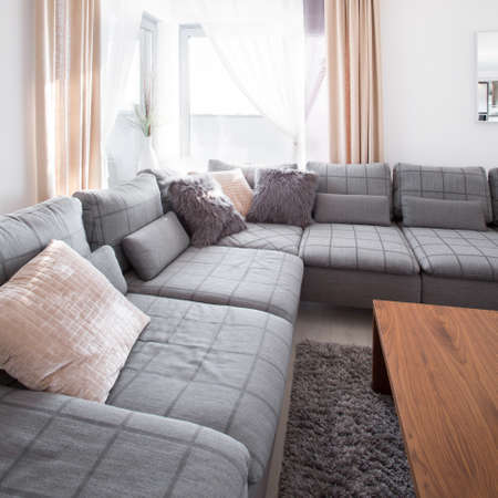 Relax space in living room with grey comfortable sofa Stock Photo