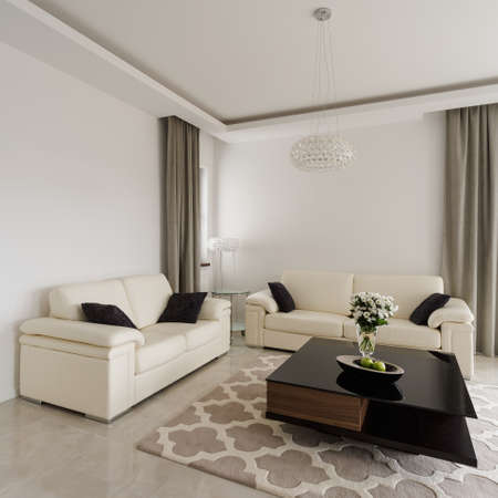 living room sofa: Interior of sitting room in luxury style
