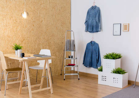 atelier: Image of contemporary eco atelier interior of creative worker