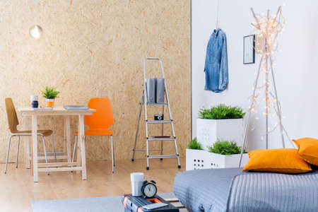 Photo of cosy modern workplace for home creative business