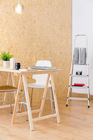 Image of stylish wood interior of professional design studio