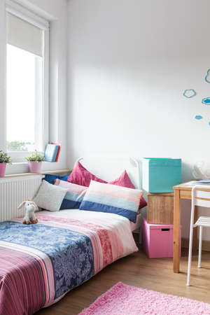 pastel: Interior of modern and cozy teen girl room Stock Photo