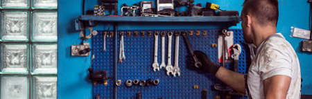 Wrenches and various equipment on the wall