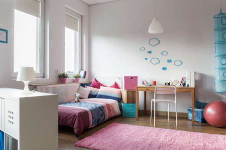 homely: Modern and homely room for teenage girl Stock Photo