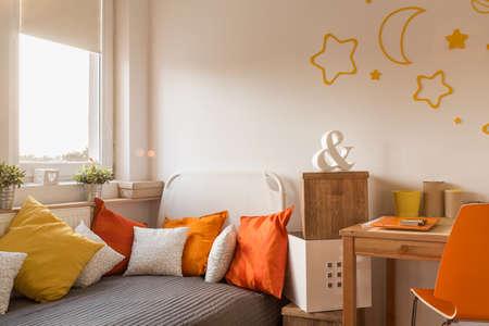 teen bedroom: Cozy bedroom for little girl or teenager Stock Photo